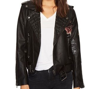 Blank NYC Floral Vegan Leather Jacket